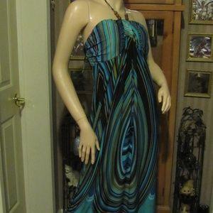 En Focus Women Blue & Brown Maxi Dress size 14W